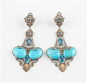 Sale 8774A - Lot 35 - A pair of sterling silver, turquoise, topaz and sapphire drop earrings