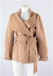 Sale 8760F - Lot 84 - A womens wool/cashmere blend wrap-jacket with oversized lapels in sandy-beige by Sambag, size medium