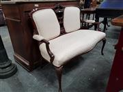 Sale 8792 - Lot 1033 - A late Victorian/Edwardian mahogany settee, the double cameo back with Chippendale style central panel, upholstered in a cream fabri...