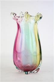 Sale 8835 - Lot 57 - A Heavy Art Glass Vase with Twisted Rim Finish H: 27cm