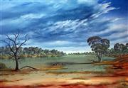 Sale 8859A - Lot 5045 - Jack Absalom (1927 - 2019) - Storm Clouds Over the Cooper Near Innamincka 43 x 60cm (sheet)