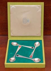 Sale 9055H - Lot 94 - A Georg Jensen set of four sterling silver spoons with card suite motifs.