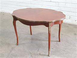 Sale 9126 - Lot 1129 - Louis XV Style Marquetry Occasional Table, the serpentine shaped with quarter veneer & brass mounts, raised on cabriole legs (h:51 x...