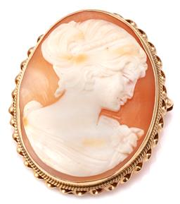 Sale 9124 - Lot 479 - A 14CT GOLD FRAMED CAMEO BROOCH PENDANT; carved oval shell cameo depicting a lady in portrait to a gold twist frame with hinged pend...