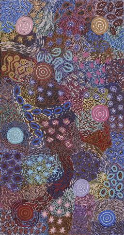 Sale 9188A - Lot 5025 - MICHELLE POSSUM NUNGURRAYI (1969 - ) Grandmother's Country acrylic on canvas 168 x 89 cm (stretched and ready to hang) certificate o..