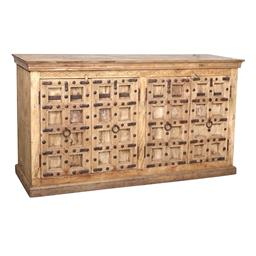 Sale 9245T - Lot 87 - A distressed timber four drawer sideboard with heavy metal detailing. Dimensions: H 112 x W 204 x D 57cm