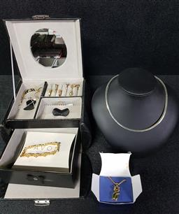 Sale 9254 - Lot 2266 - Black Jewellery Box, with Key, & Collection of Avon Jewellery