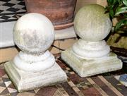 Sale 8080A - Lot 9 - A pair of composite stone ball finials