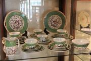 Sale 8081 - Lot 84 - Continental Green Fishscale Tea Wares Decorated with Birds (Some Chips)