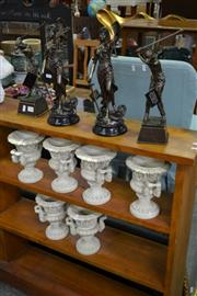Sale 8115 - Lot 1095 - Set of 6 Composite Urns & 4 Bronze Style Figures (10)
