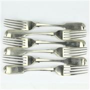 Sale 8239 - Lot 52 - English Hallmarked Sterling Silver Victorian Set of Six Forks