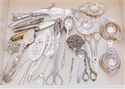 Sale 8369A - Lot 57 - A quantity of afternoon tea serving wares including grape scissors, tea strainers and cake slices etc