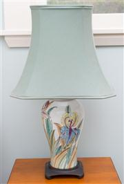 Sale 8470H - Lot 371 - A Chinese porcelain lamp decorated with irises with green fabric shade, total H 79cm