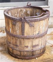 Sale 8550H - Lot 233 - A vintage timber barrel with iron details and handle, H 34cm