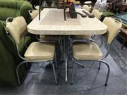 Sale 8805 - Lot 1050 - Retro Dining Setting incl. Table & Six Chairs
