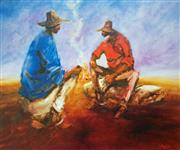Sale 8859A - Lot 5046 - Hugh Sawrey (1919 - 1999) - Kidman Cattle Men - Yarning by the Fire, Monkira Station, Western Queensland 45 x 54cm (sheet)