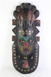Sale 8894 - Lot 25 - Timber Tribal Mask with Ornamental Beads (L 40cm)