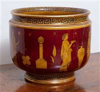 Sale 8963H - Lot 42 - A Royal Doulton jardinière with classical Greek theme, (cracked) Height 22cm