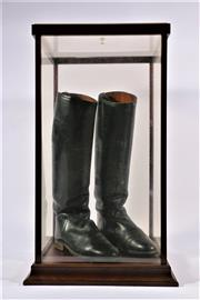 Sale 9007 - Lot 4 - Pair Of Vintage Riding Boots In Display Case, Together With Bag And Inserts