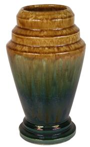 Sale 7978 - Lot 29 - Regal Mashman Green & Gold Glaze Vase