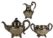 Sale 8065 - Lot 32 - English Hallmarked Sterling Silver Victorian Three Piece Tea Set