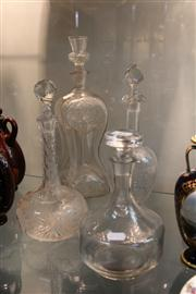 Sale 8276 - Lot 81 - Dewars Hourglass Decanter with Others incl. Finely Cut