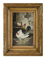 Sale 8473A - Lot 30 - Eugene Remy Maes, Belgium, 1849-1931 - Chickens 31 x 21cm