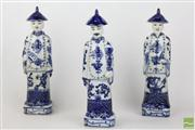 Sale 8486 - Lot 60 - Blue And White Figures Of Chinese Gentleman Stamped To Base (3)