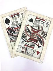 Sale 8539M - Lot 242 - Pair of Hand-Made and Painted Oversized Timber Card Tricks, H 39cm