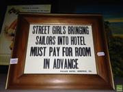 Sale 8622 - Lot 2092 - Hotel Sign