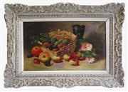 Sale 8770A - Lot 1 - Antique French still life by Leon Leblanc 1828-1900. Oil on canvas in a carved French frame 36 x 55 cm