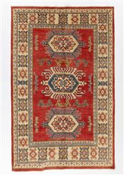 Sale 8800C - Lot 93 - An Afghan Kazak Hand Knotted Tribal Rug With Bold Geometric Motifs, 158 x 249cm
