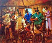Sale 8859A - Lot 5047 - Hugh Sawrey (1919 - 1999) - Kidman Men - In the Betoota Pub, Northern Fringe Channel Country 45 x 54cm (sheet)