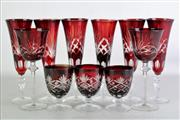 Sale 8931B - Lot 610 - Set of six ruby glass faceted champagne flutes together with sundry stem wares