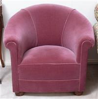 Sale 8963H - Lot 72 - A tub chair upholstered in a plum velvet fabric, Height of back 73cm