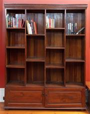 Sale 9020H - Lot 24 - An antique English open front  bookcase on cupboard base H-220xW167xD45cm