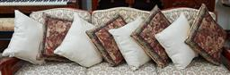 Sale 9103M - Lot 588 - An assortment of throw cushions in tapestry decoration and cream, Largest 41cm x 41cm