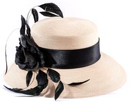 Sale 9132 - Lot 353 - A FRILLIES COLLECTION SUMMER STRAW HAT BY CUPIDS MILLINERY, medium size 56-57cm, length of brim 9cm, black ribbon, feathers and rose...