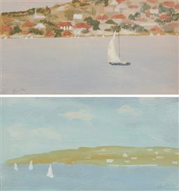 Sale 9161 - Lot 579 - RAY CROOKE (1922 - 2015) (2 works) Sketches for Sydney Harbour gouache 8.5 x 16.5 cm (frame: 36 x 44 x 2 cm), each signed lower left...