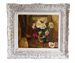 Sale 9135H - Lot 113 - Victor Le Clercq Belgium 1896-1944  Impressionist still life signed. 47 x 56 cm in a heavy French carved frame