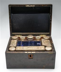 Sale 9211 - Lot 66 - A Victorian Fitted Travelling Case, Fitted With Lidded Silver Plated Containers (H:17.5cm W:30.5cm D:22.5cm)