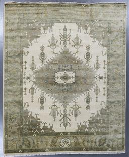 Sale 9248H - Lot 115 - A Rajasthan lambswool natural dye Oushak Rug in pistachio tones. 301x248 cm