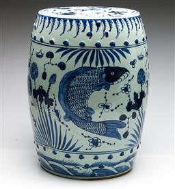 Sale 9253 - Lot 14 - A blue and white Chinese ceramic drum stool decorated with carp (H:47cm Dia:30cm)