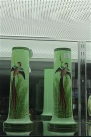 Sale 7989 - Lot 27 - Pair of Edwardian Tall Green Glass Vases with Hand Painted Birds