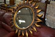 Sale 8115 - Lot 1298 - Gilt Framed Bevelled Edge Mirror in Form of the Sun