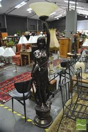 Sale 8289 - Lot 1025 - Large Lady Form Standing Lamp