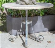 Sale 8568A - Lot 19 - A forged iron and composite top circular garden table, D 86cm