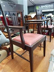 Sale 8717 - Lot 1083 - Pair of Timber Carver Chairs with Vinyl Upholstered Seat