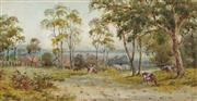 Sale 8891 - Lot 2030 - William Lindley - Cows Grazing by the Tuggerah Lake, 1936 21 x 40 cm