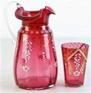Sale 8957C - Lot 645 - Handpainted cranberry glass jug (H18cm, chip to base) together with a tumbler (H9cm)